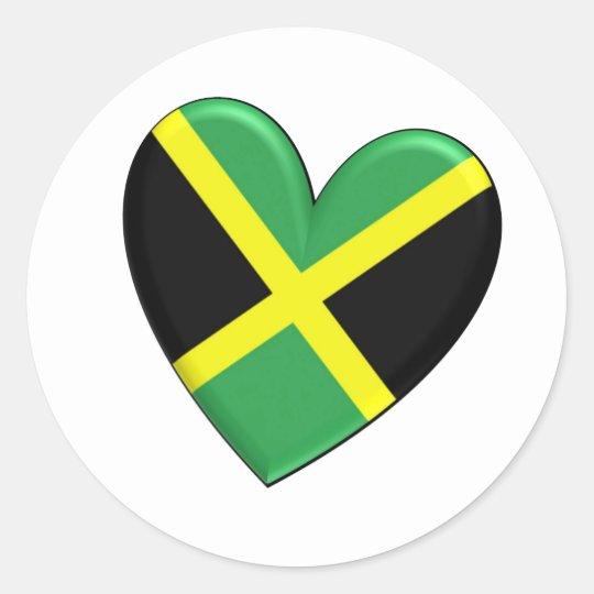 Jamaican Heart Flag Classic Round Sticker