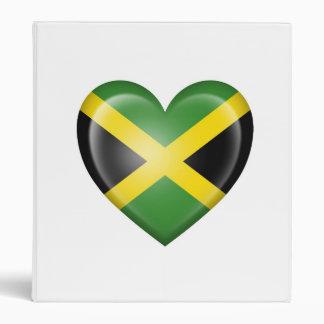Jamaican Heart Flag on White 3 Ring Binder