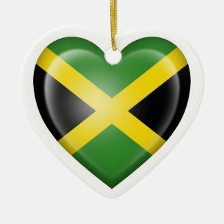 Jamaican Heart Flag on White Double-Sided Heart Ceramic Christmas Ornament
