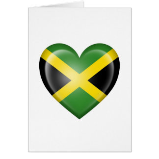 Jamaican Heart Flag on White Greeting Card