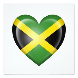 Jamaican Heart Flag on White Invitation