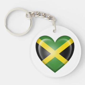 Jamaican Heart Flag on White Keychain