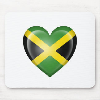 Jamaican Heart Flag on White Mouse Pad