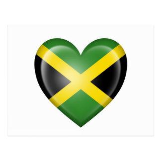 Jamaican Heart Flag on White Postcard