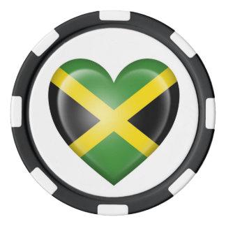 Jamaican Heart Flag on White Set Of Poker Chips
