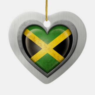 Jamaican Heart Flag Stainless Steel Effect Double-Sided Heart Ceramic Christmas Ornament