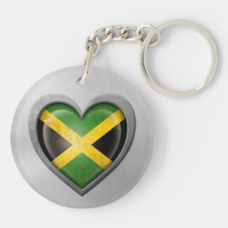 Jamaican Heart Flag Stainless Steel Effect Double-Sided Round Acrylic Keychain