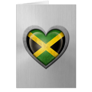 Jamaican Heart Flag Stainless Steel Effect Greeting Card