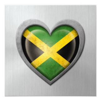 Jamaican Heart Flag Stainless Steel Effect Invitation