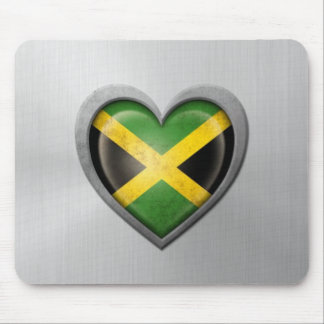 Jamaican Heart Flag Stainless Steel Effect Mouse Pad