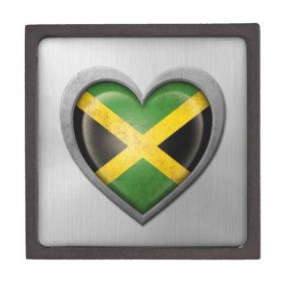 Jamaican Heart Flag Stainless Steel Effect Premium Trinket Box