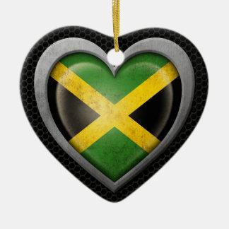 Jamaican Heart Flag Steel Mesh Effect Double-Sided Heart Ceramic Christmas Ornament