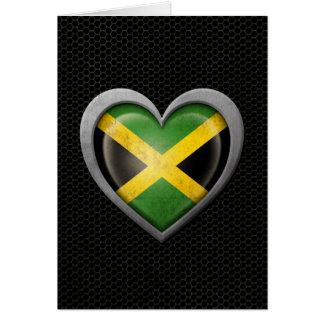 Jamaican Heart Flag Steel Mesh Effect Greeting Card