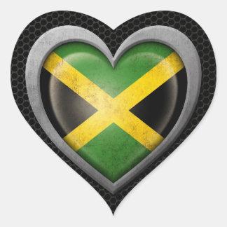 Jamaican Heart Flag Steel Mesh Effect Heart Sticker
