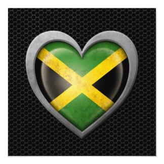 Jamaican Heart Flag Steel Mesh Effect Invitation