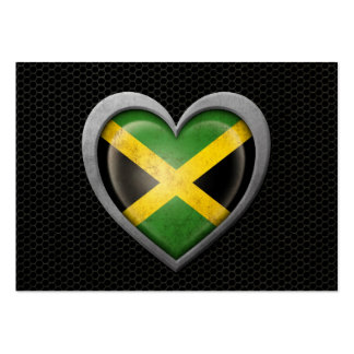 Jamaican Heart Flag Steel Mesh Effect Large Business Cards (Pack Of 100)