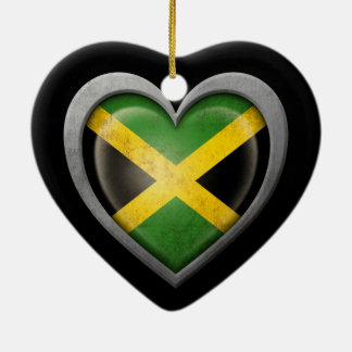 Jamaican Heart Flag with Metal Effect Double-Sided Heart Ceramic Christmas Ornament