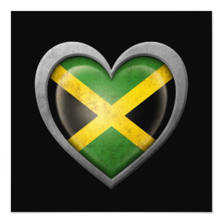 Jamaican Heart Flag with Metal Effect Invitation