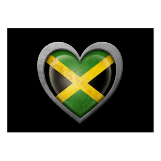 Jamaican Heart Flag with Metal Effect Large Business Cards (Pack Of 100)