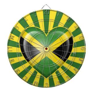 Jamaican Heart Flag with Star Burst Dartboard With Darts