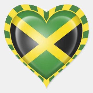 Jamaican Heart Flag with Star Burst Heart Sticker
