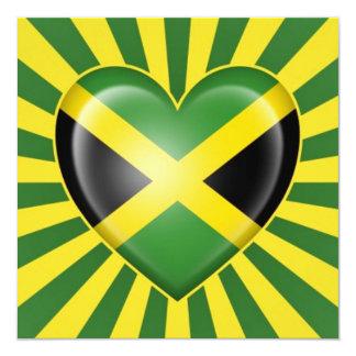 Jamaican Heart Flag with Star Burst Invitation