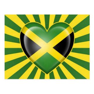 Jamaican Heart Flag with Star Burst Postcard