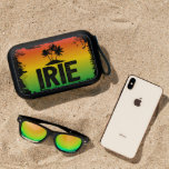"""Jamaican IRIE Rastafarian Patwah Quote Bluetooth Speaker<br><div class=""""desc"""">Cool blue tooth speak printed with a red,  yellow and green sunset with palm tree silhouettes and the Jamaican patwah phrase IRIE</div>"""