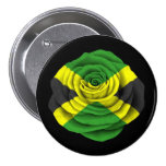Jamaican Rose Flag on Black 3 Inch Round Button