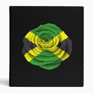 Jamaican Rose Flag on Black 3 Ring Binder