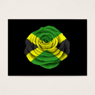 Jamaican Rose Flag on Black Business Card