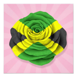 Jamaican Rose Flag on Pink Card