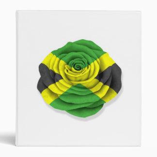 Jamaican Rose Flag on White 3 Ring Binders