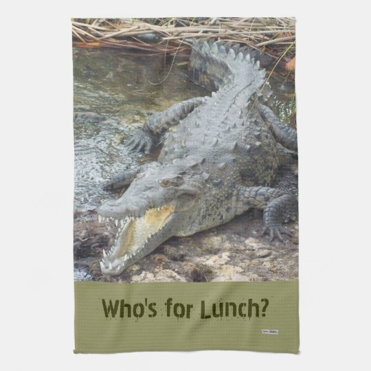 Jamaican Salt Water Crocodile Kitchen Towel