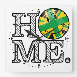Jamaican Style Union Jack Flag Square Wall Clock