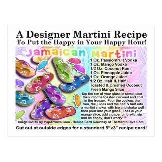 Jamaican Tropical Martini Recipe Card Postcard