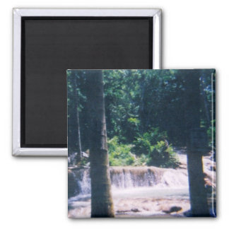 Jamaican Waterfall 2 Inch Square Magnet