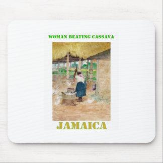 Jamaican Woman Beating Cassava on Farm Mouse Pad