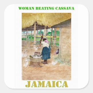Jamaican Woman Beating Cassava on Farm Square Sticker