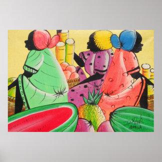 Jamaican Women in Fruit Market D Roberts Canvas Pr Poster