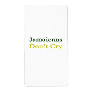 Jamaicans no llora etiquetas de envío