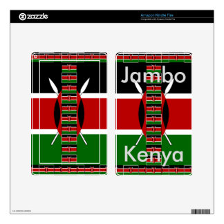 Jambo Colors Kenya Seamless Flags border frames Decal For Kindle Fire