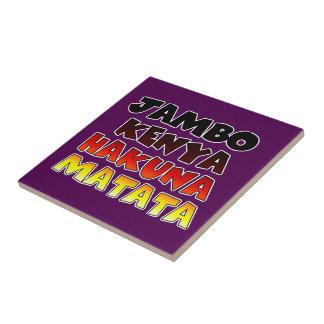 Jambo Kenia Hakuna Matata Azulejo Cuadrado Pequeño