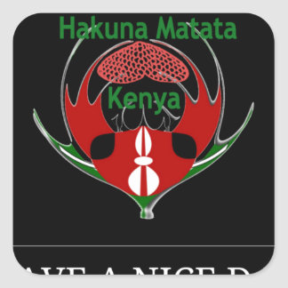Jambo Kenia Pegatina Cuadrada
