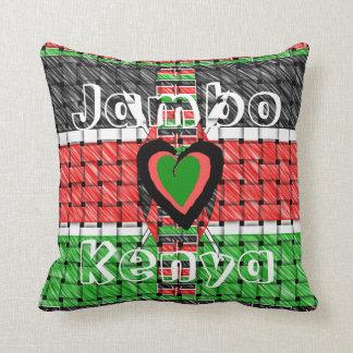 Jambo Kenya Heart Traditional Flag Woven Colors Throw Pillow