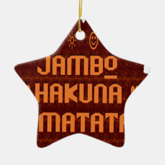 jambo MATATa.png Double-Sided Star Ceramic Christmas Ornament