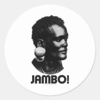¡JAMBO! Saludo del suajili Pegatina Redonda