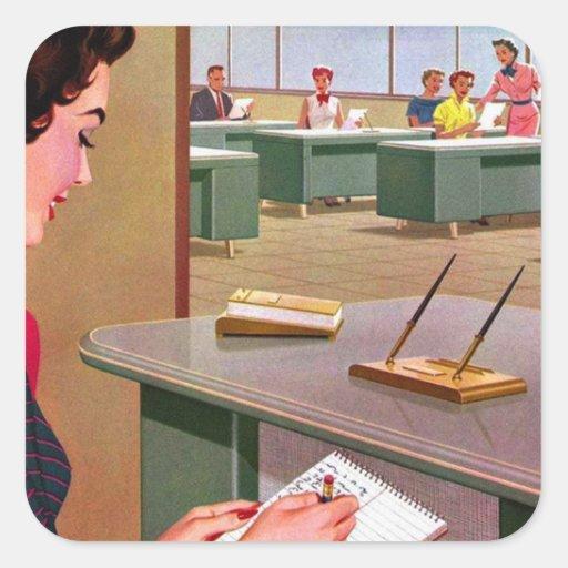 Jamboree retro de la oficina de los años 60 del calcomania cuadradas