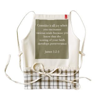 James 1:2-3 tan checkered Apron