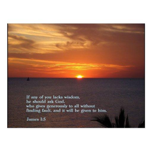 James 1:5  Sunset Postcard